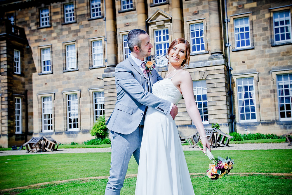Wedding couple at Crathorne Hall