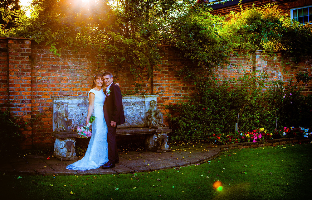 Wedding photography pose in the garden