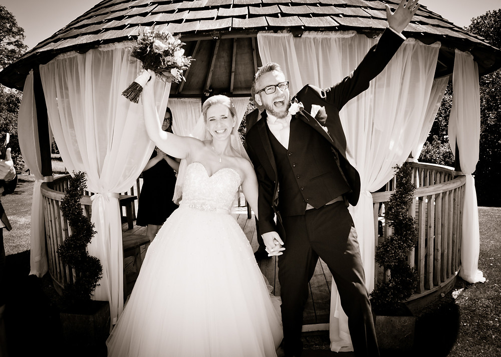 Wedding Bride & Groom celebrate