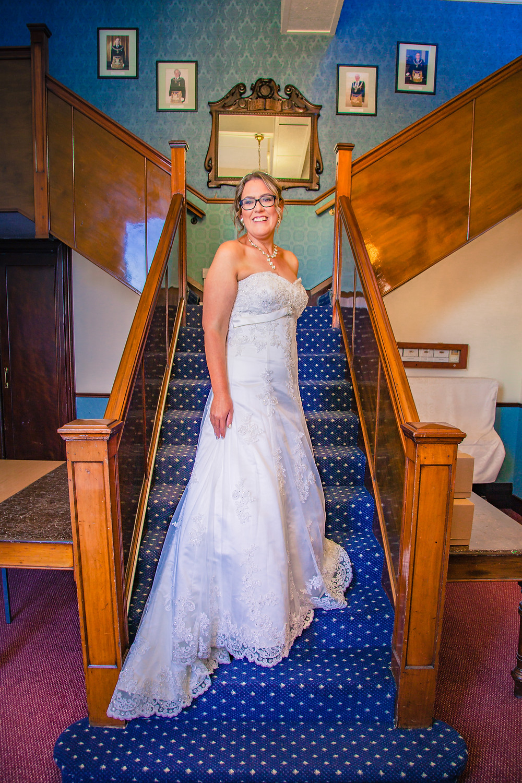 Wedding bride pose at Masonic Hall