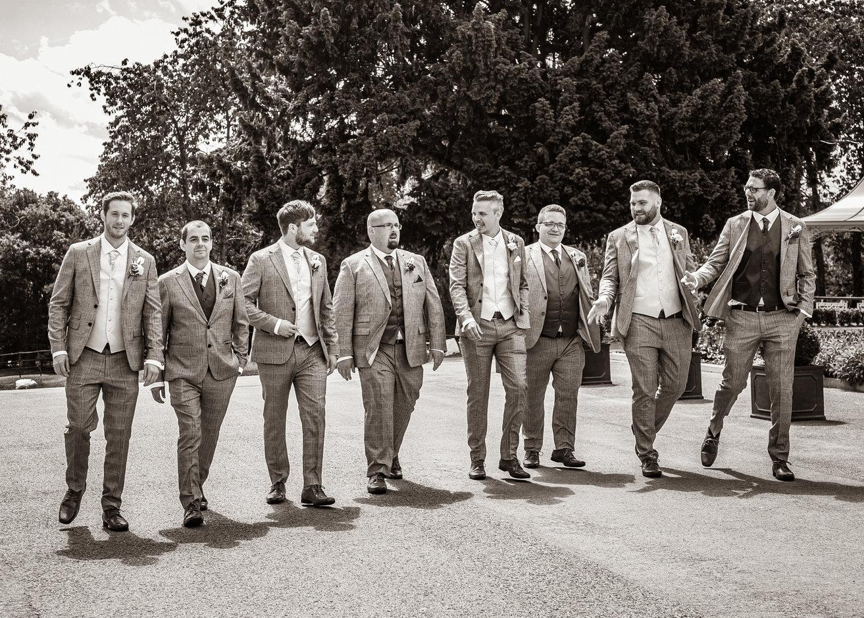 Wedding groom with ushers