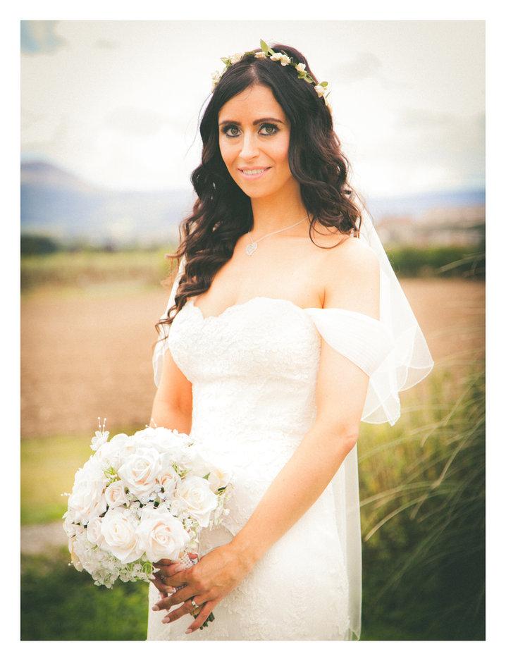 Wedding bride photographed outside