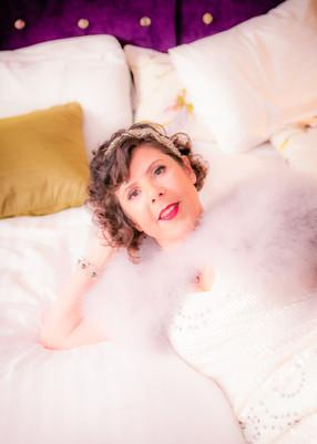 Wedding bride on bed