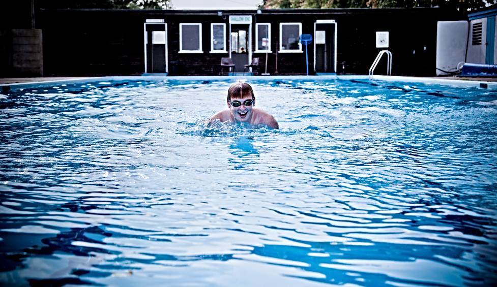 Swimmer at Helmsley swimming pool