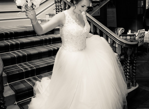 Bride on the stairs at the Blackwell Grange hotel in Darlington.