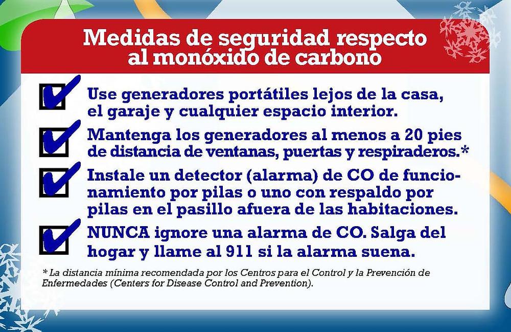 Medidas de seguridad respecto al monoxido de carbono