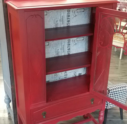 Red Decoupaged Hutch