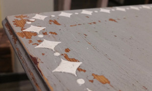 Distressed Table with Raised Diamond Trim