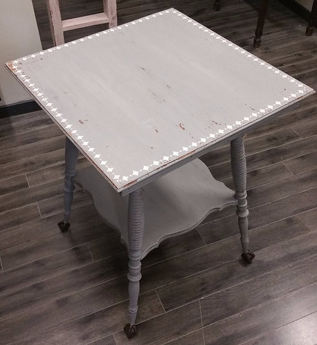 Distressed Milk-painted Table with Embossed Stencil Detail