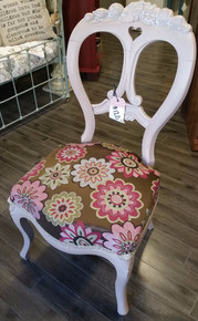 Pink Chair with Flower Upholstery