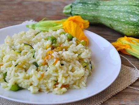 Risotto con pistilli e fiori di zucchina