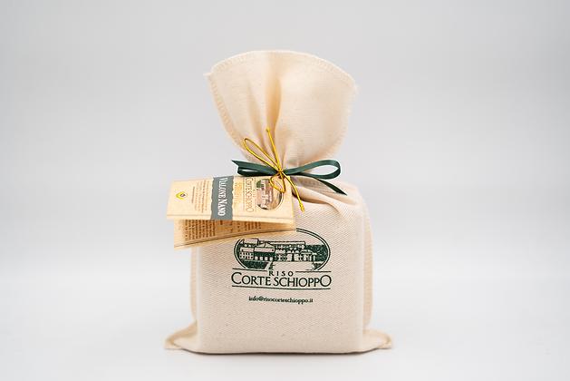 Riso Vialone Nano Semilavorato confezionato in sacchetto di tela - 0,5 kg