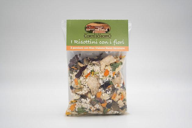 Risottino con i Fiori ai Funghi Porcini e Radicchio Rosso - 250 grammi