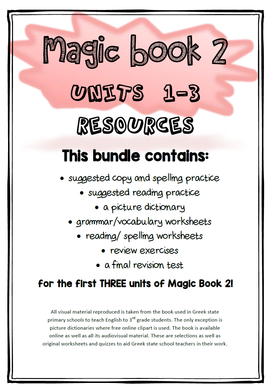 Bundle of materials and printable worksheets for units 1, 2, 3 of magic book 2, public school English textbook