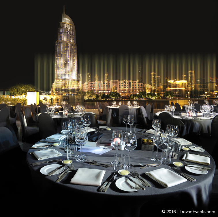 Armani Pavilion Gala Dinner Setup fountain view_TravcoEvents