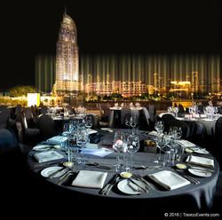 Armani Pavilion Gala Dinner Setup fountain view_TravcoEvents