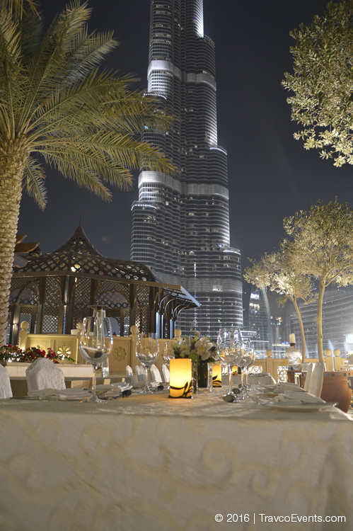 Dinner Setup venue facing Burj Khalifa_TravcoEvents