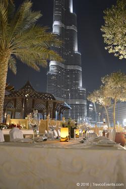 Dinner Setup venue facing Burj Khalifa_TravcoEvents