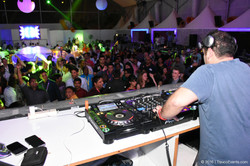 DJ entertaining guests at XL Beach Party_TravcoEvents