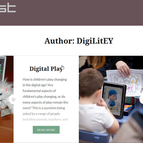 New Blog on Young Children's Digital and Multimodal Literacy Practices
