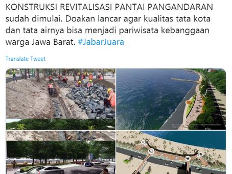 Ridwan Kamil: Konstruksi Revitalisasi Pantai Pangandaran Sudah dimulai