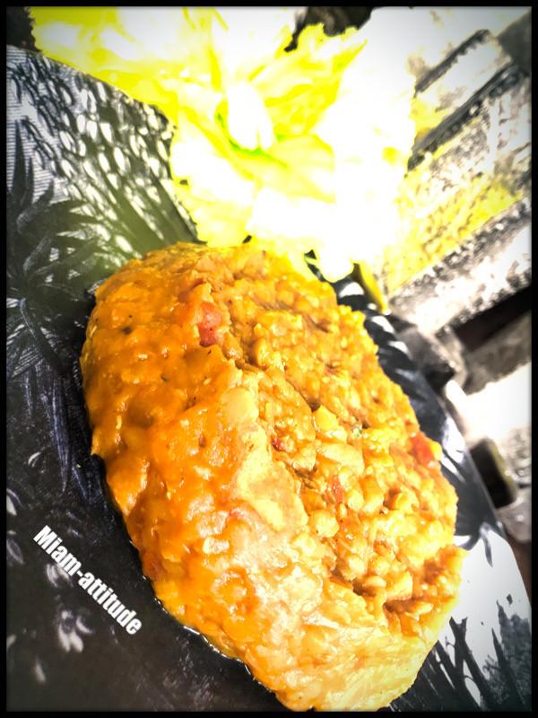 Curry de lentilles corail, lait de coco