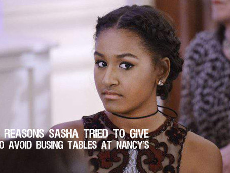 Five Reasons Sasha Obama Tried to Give to Avoid Busing Tables in Martha's Vineyard