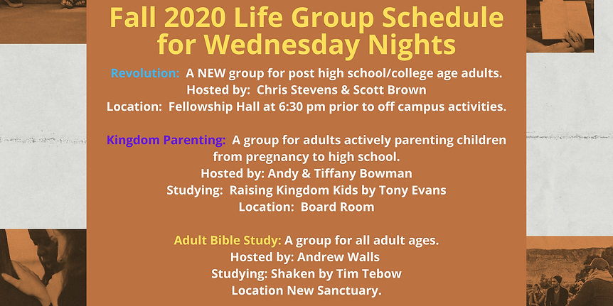 Fall 2020 Life Group Schedule for Wednes