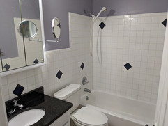 Full bathroom with brand new granite countertops and full bath and shower