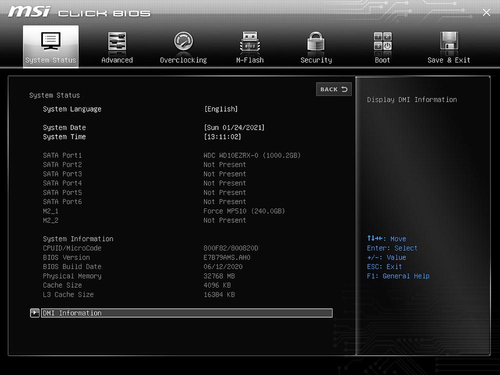 BIOS version in BIOS itself