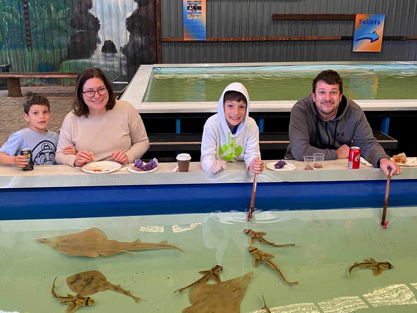 Family feeding and dining with rays