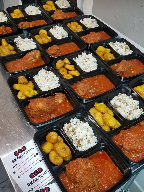 Rice and Beans with Plantains and Chicken Stew