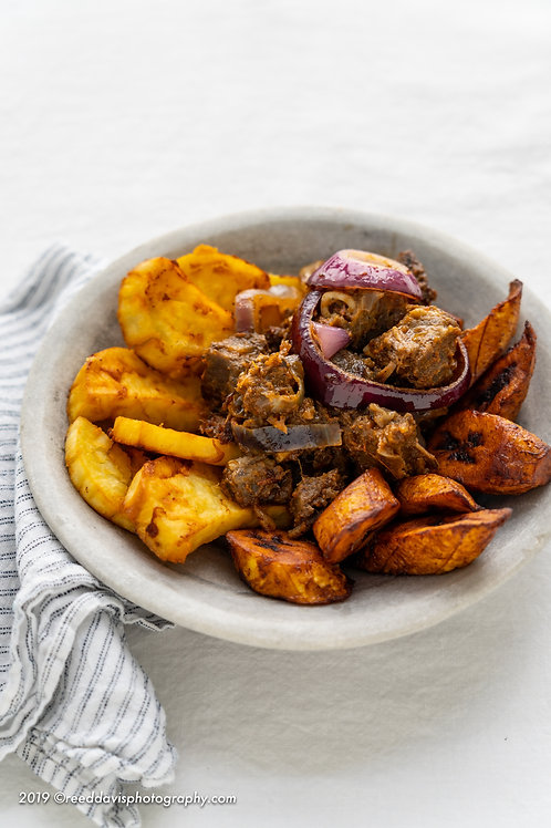 Asun with Sweet Potatoes and Fried Plantains