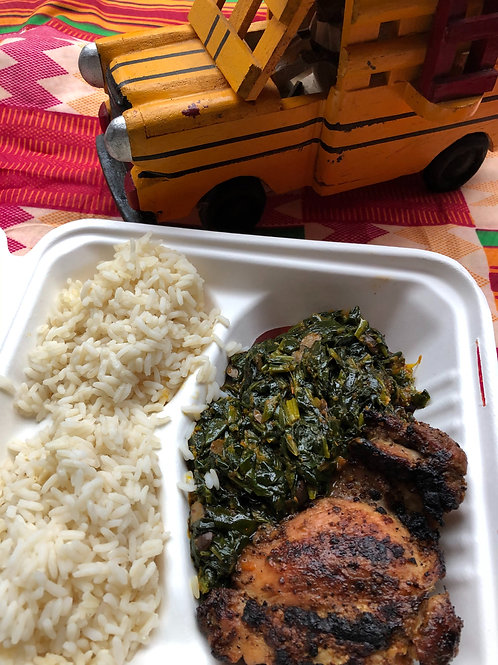 Efo Riro (Stewed Spinach) with White Rice