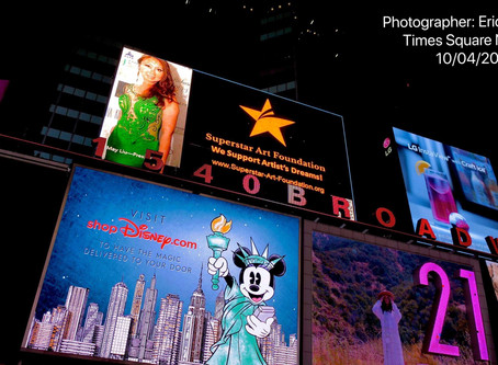 Superstar Art Foundation AD on Disney Screen, #1540 Broadway New York Times Square