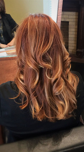 Red With Blonde Balayage
