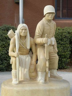 Warriors Past and Present, Statue outside the Pueblo Indian Cultural Center, Albuquerque NM