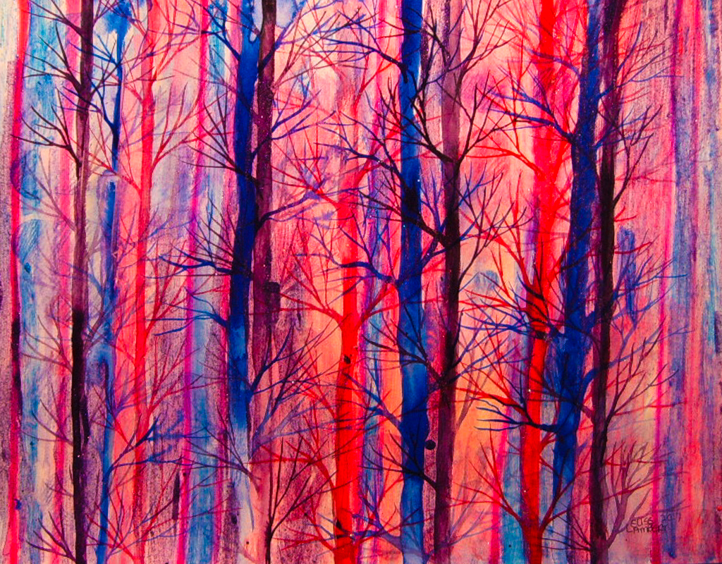Magenta Starlit Woods