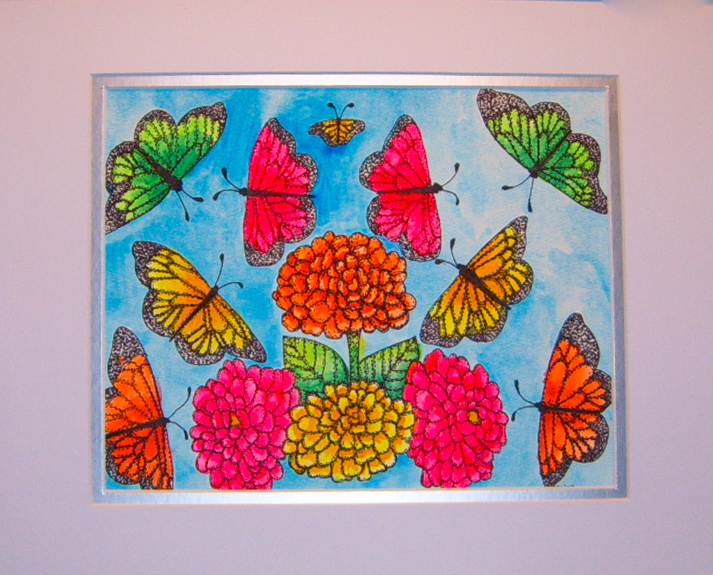 Neon Butterflies and Flowers