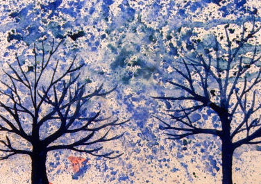 Blue Trees in a Blue Snow Storm	T024m