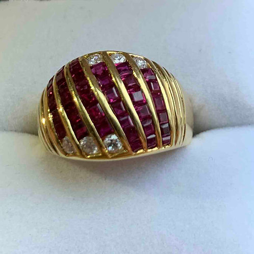 18kt Yellow Gold Ruby and Diamond Ring