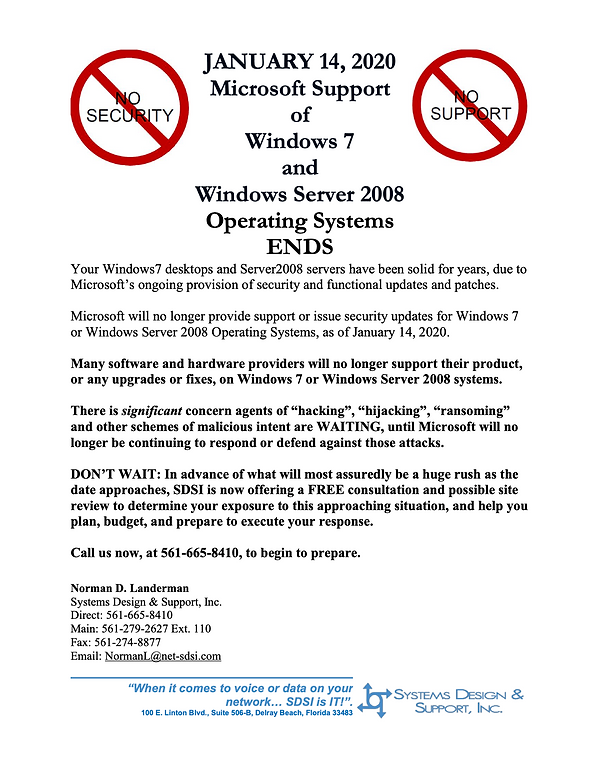 End Of Life for Windows 7 and Server 200
