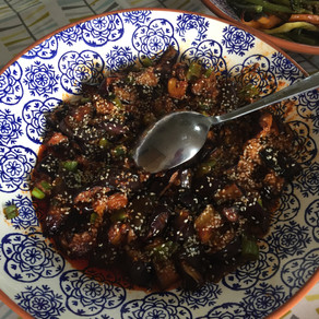 Sticky, spicy aubergine salad