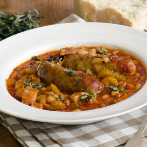 Spiced sausage and bean casserole (Ve)