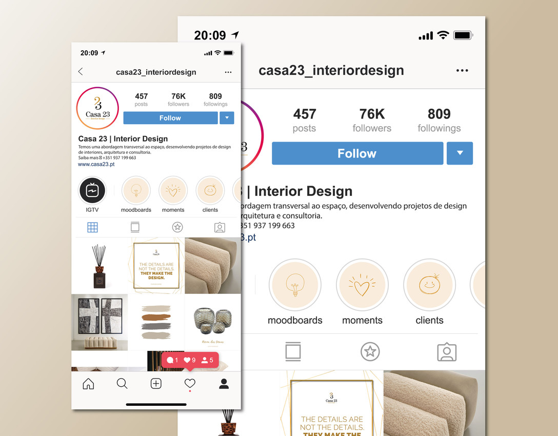 Instagram da Marca - Vista Feed
