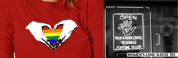 """Long sleeve t-shirts for women designed by bang! bang! flip streetwear for the LGBT community. The collection is titled, """"Over the Rainbow"""". The model wears """"Two Hands One Heart"""" Long Sleeve t-shirt for women of the LGBT community."""