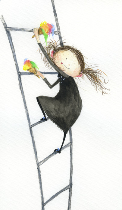 '..Marlene found out it was easy to climb the ladder while still holding on to her icecreams!'