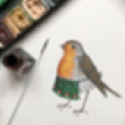Robin Redbreast with apron