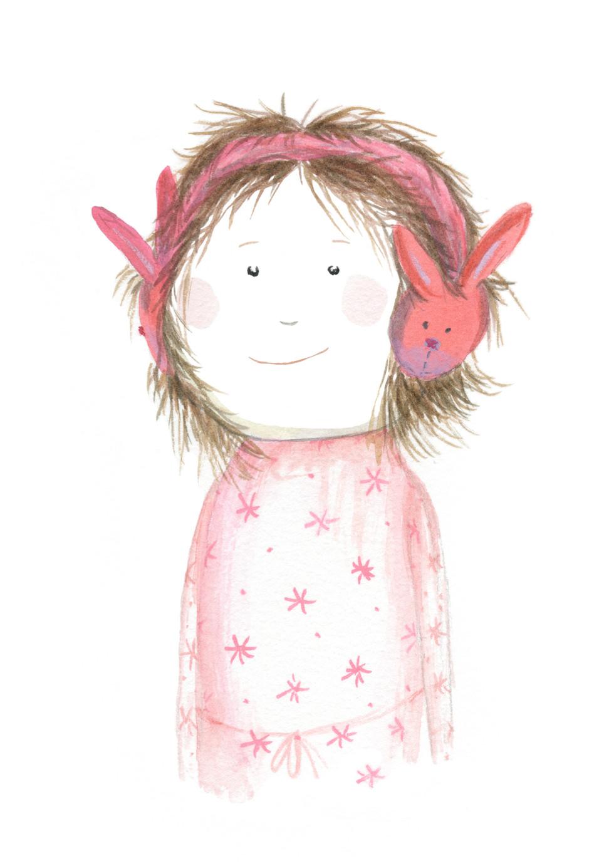 'Girl With Bunny Earwarmers'