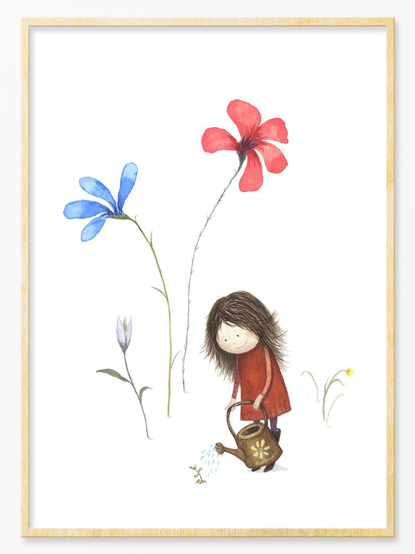 'Little Girl Watering', A4 size.